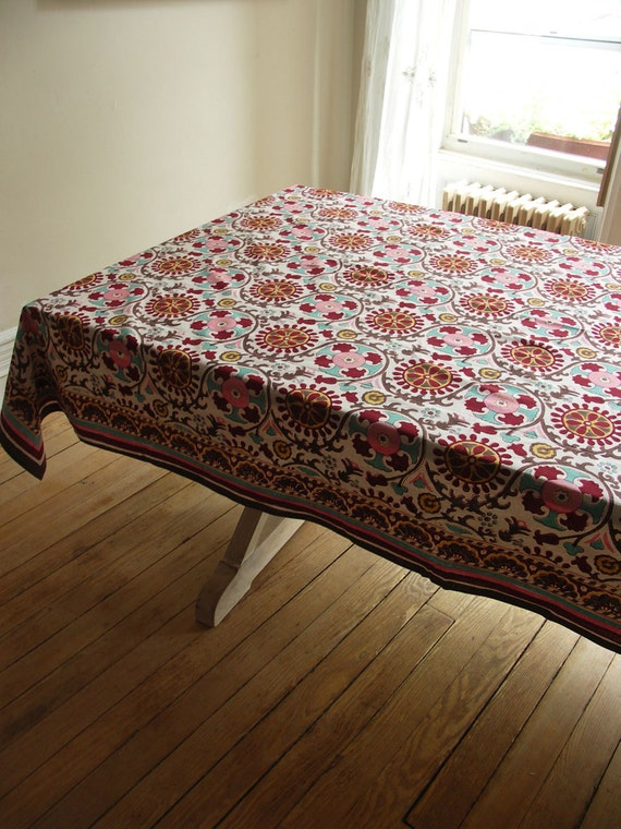 "Hand Block Printed Tablecloth - Uzbek - 60"" x 90"""