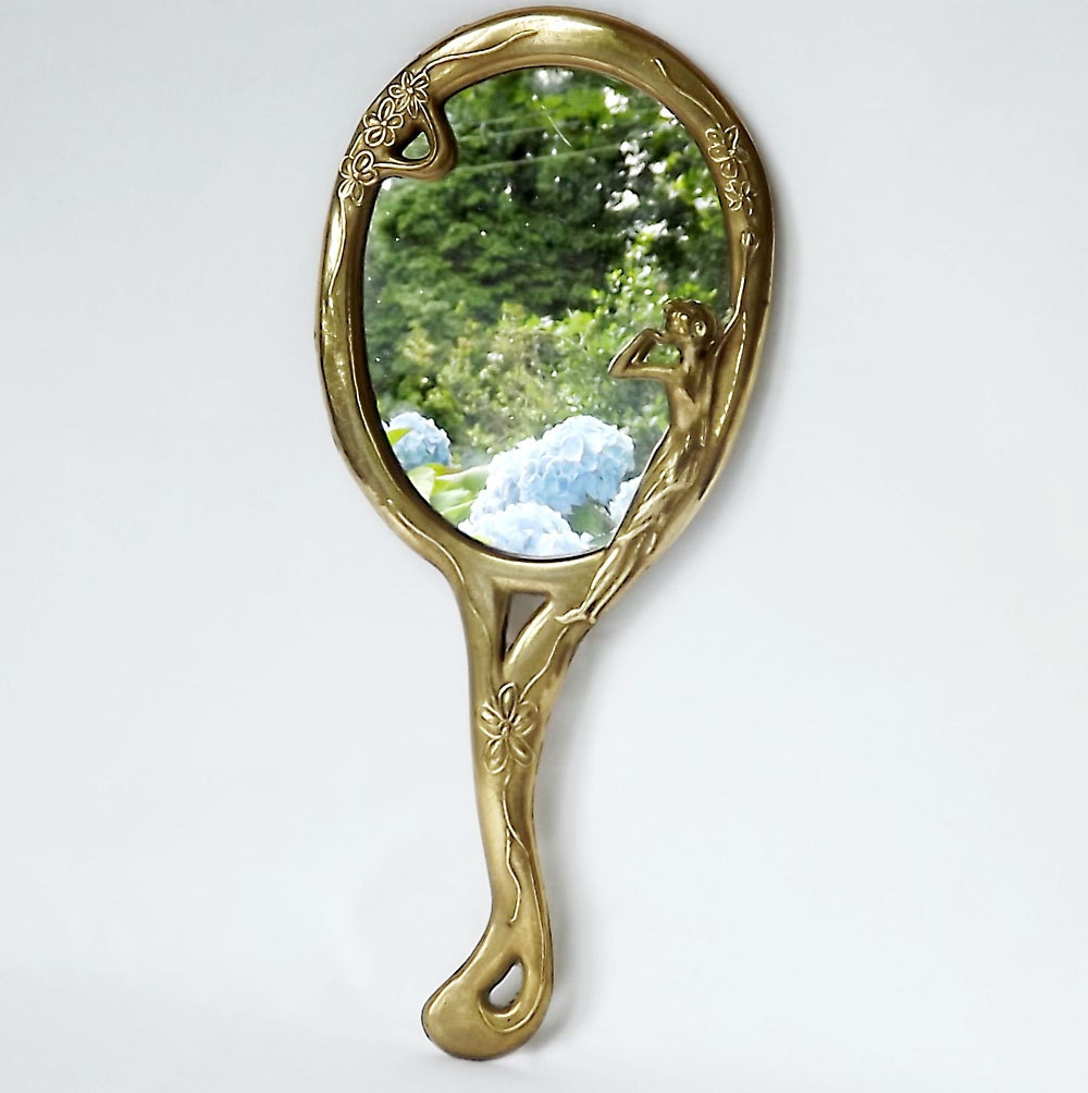 French Art Nouveau Hand Mirror Vanity Mirror