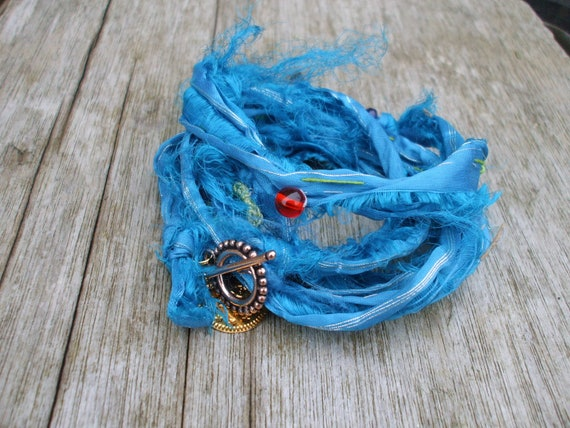 Blue Wrap Bracelet Recycled Indian Sari Silk Textile Beaded Boho Tribal Jewellery Ribbon Infinity Bracelet  Necklace