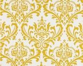 Two 20 x 20 Custom Designer Decorative Pillow Covers Euro Shams -    Slub Yellow Damask