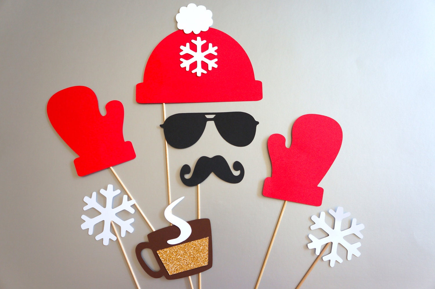winter photo booth props 8 piece set glitter photobooth