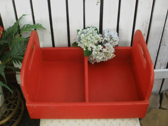 Old Painted Red Wooden Carry All Box .  Garden, Kitchen, Craft . Large with Handles