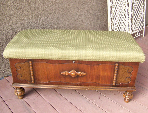 1940s Cedar Chest Bed Bench Fancy Feet Walnut By