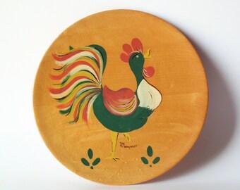 Mid Century Modern Wooden Rooster Plate, Margaret Studios, Inc.