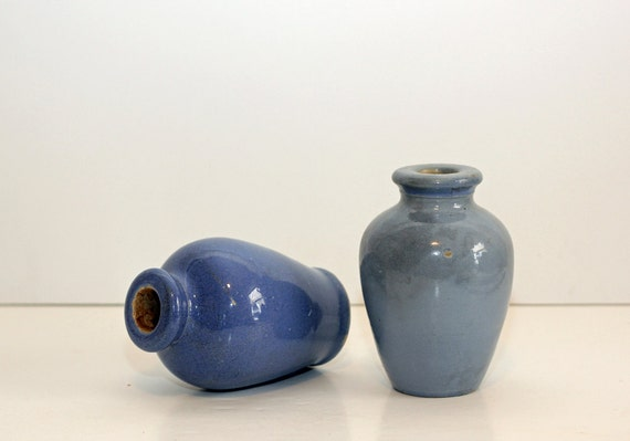 Antique Scottish Stoneware / Primitive Blue Gray Stoneware Jars / Vases