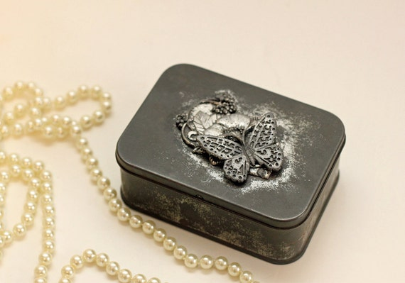 Vintage Oxidized Metal Trinket Box with Butterfly and Botanicals / Gift Box