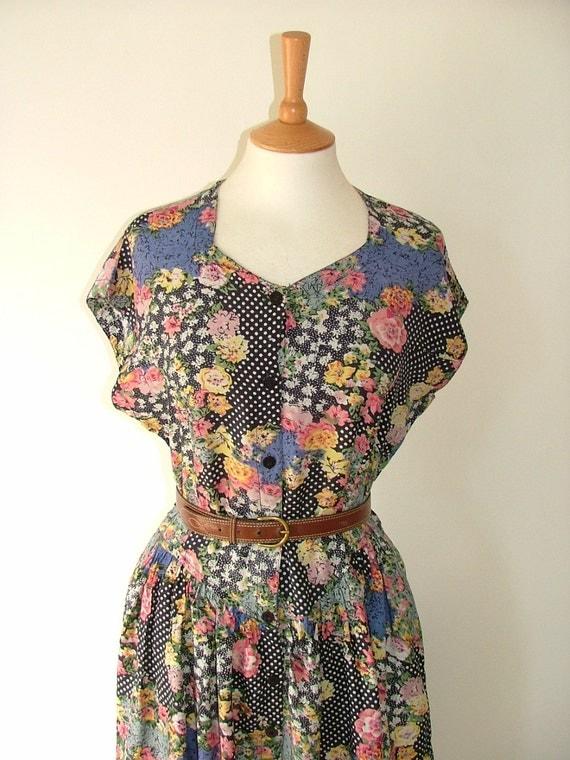 Vintage floral flower pattern polka dot spot blue button down dress size medium UK 12 14