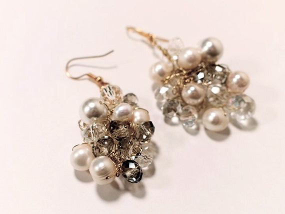 Here comes the bride wedding earrings with pearls and crystals