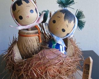 Adorable Vintage Souvenir Kokeshi Chestnut Kids - Excellent.
