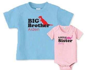 Matching dinosaur sibling t-shirts, big brother t shirt, little sister onesie or shirt