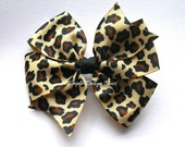 """Leopard Hair Bow - 4"""" or 5"""" Large Pinwheel Bow - Leopard Print - Animal Print Bow - Large Bow"""