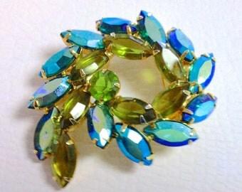 Iridescent Green Blue Rhinestone Brooch Hi End Retro Aurora Borealis Madmen Retro Fashion Jewelry Accessories