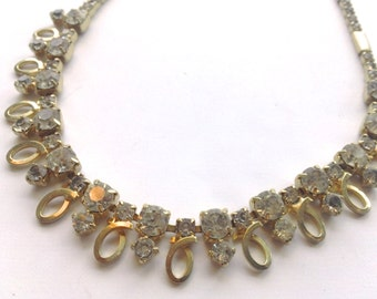 Sarah Coventry Rhinestone Choker Necklace Retro Designer Bridal Fashion Jewelry