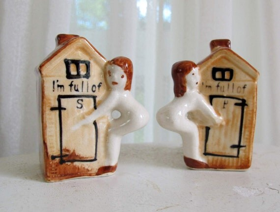 Outhouse salt and pepper shakers with girl Vintage I'm full of P