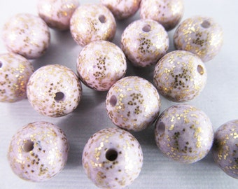 20 Vintage 9mm Lilac Glitter Sparkle Lucite Beads Bd438