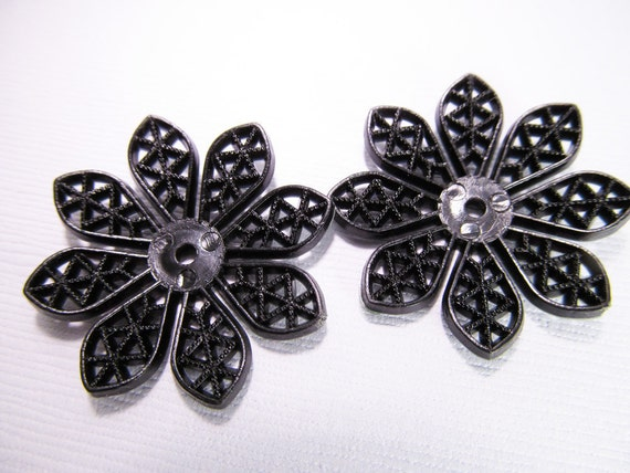 4 Vintage 33mm Black Filigree Flowers  Fl20