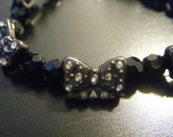 Black Beaded Bow Bracelet