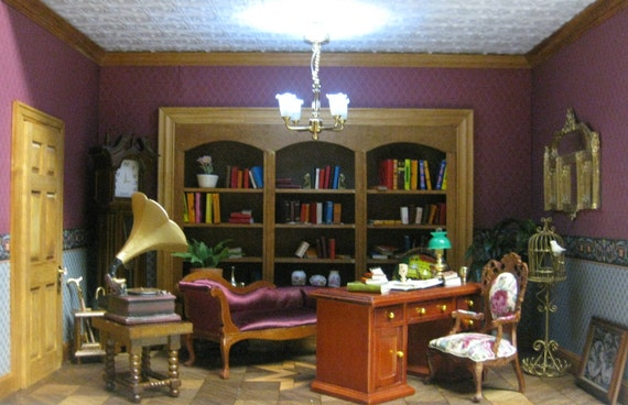 Charming Dollhouse Miniature Room Box Victorian Library Study with Parquet flooring