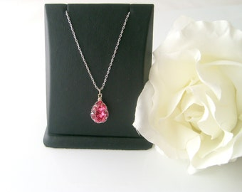 Swarovski 14x10 crystal pink rose bezel trim swarovski crystal flower girl necklace wedding jewelry bridal jewelry bridesmaid gift