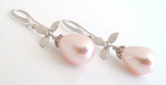 wedding jewelry,naturel teardrop pink sea pearl earrings with cz connector and earwire wedding earrings bridal earrings