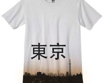 Tokyo Skyline Skytree Japan T-Shirt Japanese photo hand silkscreened