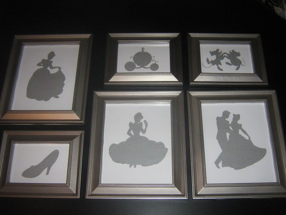 Framed nursery art, disney princess silhouette, Cinderella art, once upon a time, fairytale
