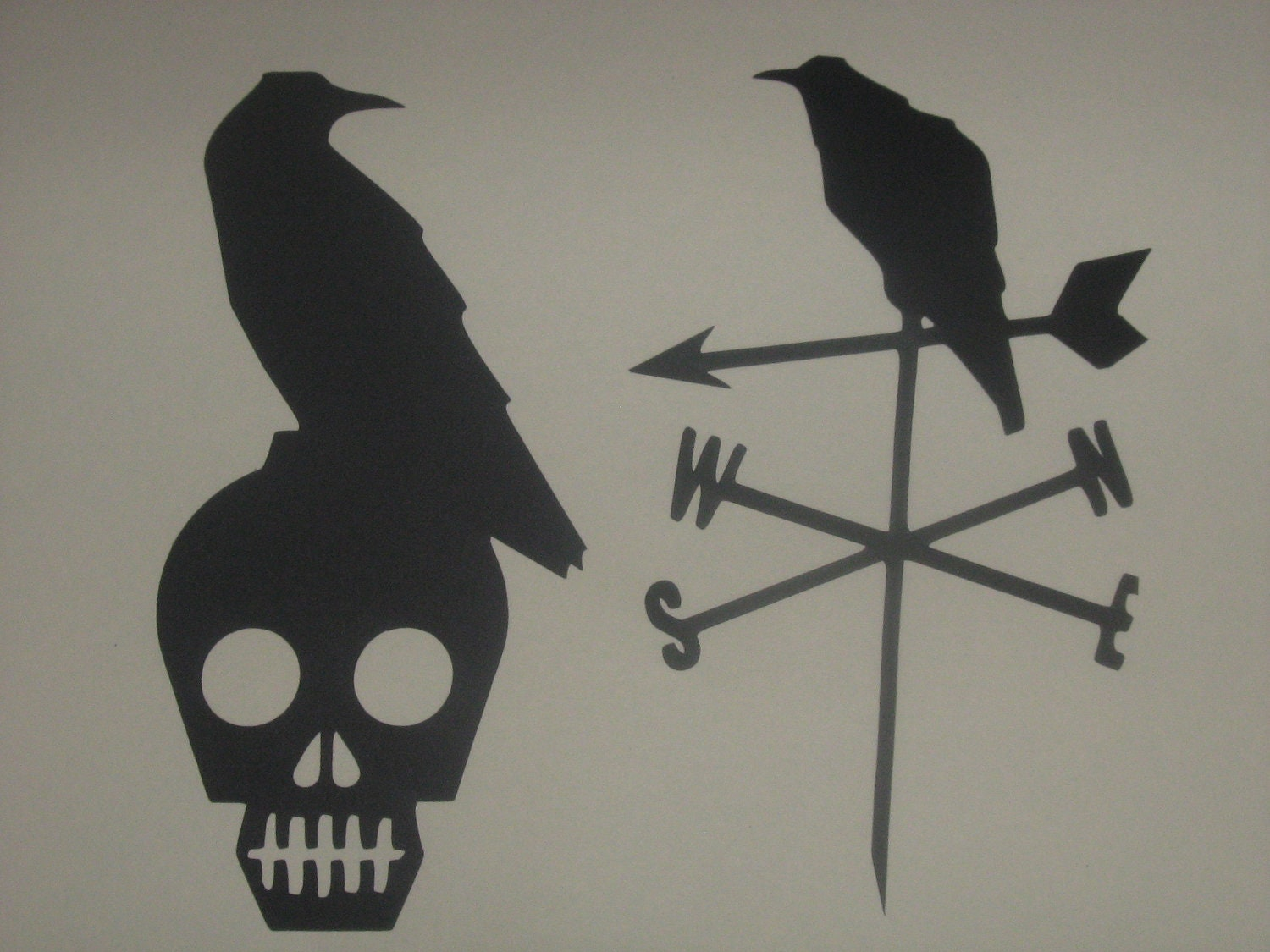 Halloween silhouettes Crows Skulls scary decorations