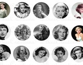 Hollywood Starlet Bottle Cap Collage Sheet - 4x6 sheet of 15 1 inch Digital Images for bottlecaps, glass tiles, magnets, or hair bows