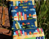 Travel Diaper Changing Set (Boy) - Wet Bag & Wipes Case - City Streets in Blue with Green and Yellow Accents