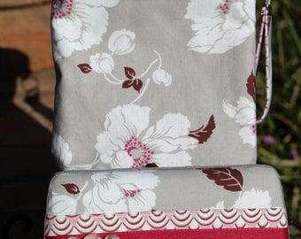 Wet Bag & Wipes Case - Mini Diaper Bag (Girl) - Floral - Grey, Lavendar, and White