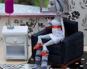 1:6 scale Blue Club Chair for OOAK Dollhouse or Diorama (Blythe, Barbie, 12'' Fashion dolls, Bratz, Monster High, Momoko)