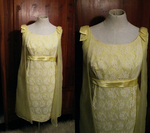 1960s Pale Yellow Chiffon and Lace Babydoll Cocktail Dress