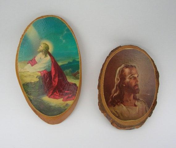 Vintage Wood Slice Jesus Wall Plaques/ Set of 2/ 1970's
