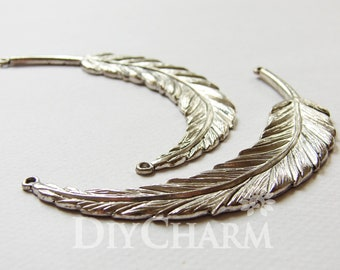 Antique Silver Perfect Arc Huge Feather Charms 95x17mm - 2Pcs - DF22676