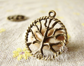 Tree Of Life With Twist Circle Pendant 21x21mm,10 Pcs,DC26335