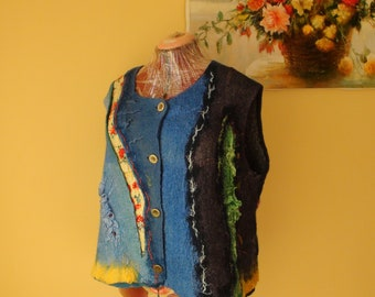 Nuno felted vest    blue, yellow and  red