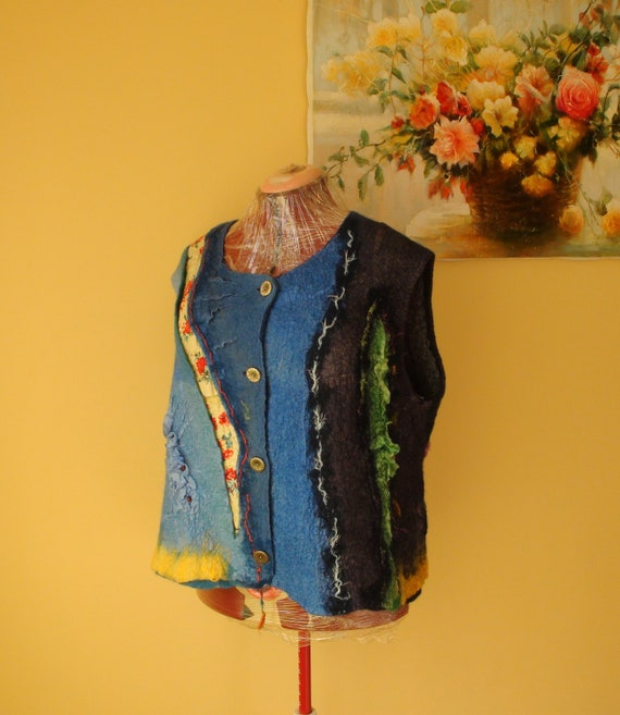 Nuno felted vest    blue, yellow and  red OOAK XXL-XXXL