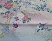 Kimono fabric damask silk bird duck panel