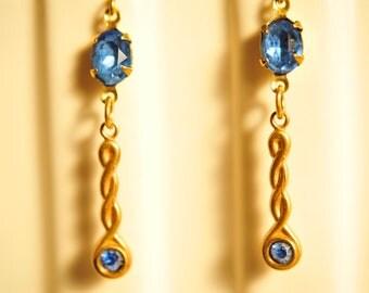 SALE Handmade Vintage Sapphire Blue Dangle Earrings