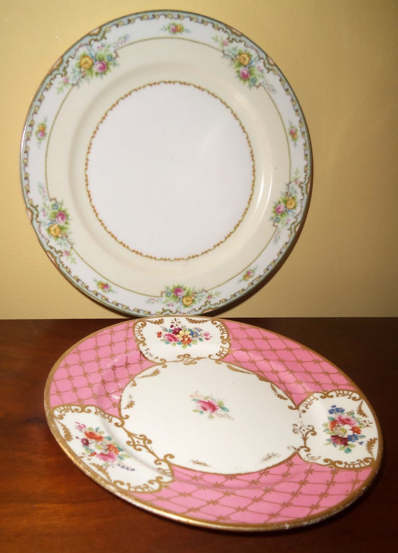Antique Wetley China Birks 9234 Pink Gold Plate and Meito Plate