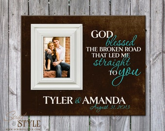 Personalized Family Name Sign with Picture Frame, Family Established Sign, Personalized Picture Frame, God Blessed The Broken Road