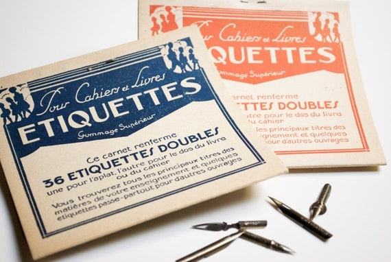 Vintage french school gummed labels with the original paper case - back to school