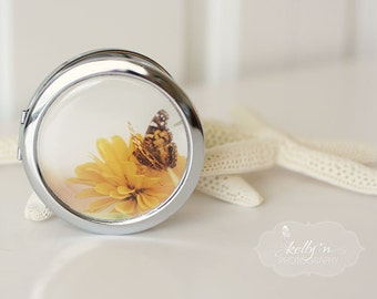 "Photo Compact Mirror- ""Soft Summer Day"", Butterfly on Yellow Zinnia Nature Photograph, 3"" Double Sided Compact Mirror- Engravable Gift Item"
