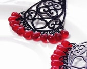 Red & Black Burlesque Chandelier Earrings, Czech Glass Teardrop Earrings, Black Floral Filigree
