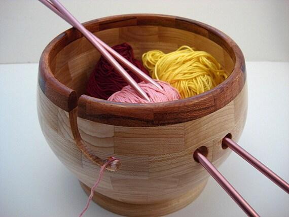 Wooden Knitting Bowl, Brazilian Cherry Rim, Lathe Turned