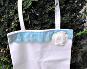 Teal Lace with Rosette Shopping Tote Bag