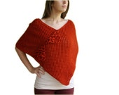 Knit Poncho in Brick Red - Wool Cape in Rust - Wrap  - Women Teens Accessories - Spring Fall Winter Fashion
