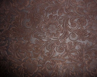 "Suede Leather 12""x12"" Etched DAISY Rich Chocolate Brown Floral Matte Cowhide 3.5-3.75 oz/1.4-1.5 mm PeggySueAlso™ E2875-02"