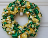 Ribbon Wreath with Tractors - green and yellow tractor wreath nursery decor birth announcement door decor housewares