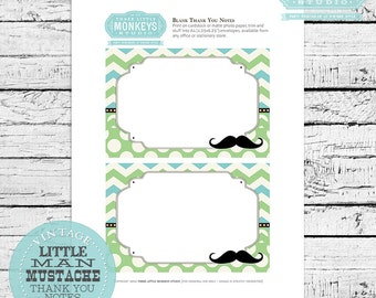 INSTANT DOWNLOAD Little Man Mustache Blank Thank You Notes